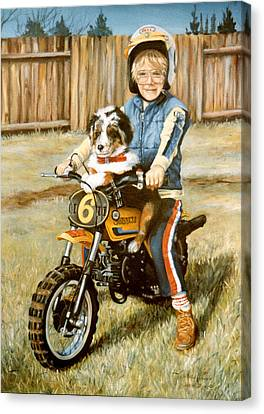 A Ride In The Backyard Canvas Print by Donna Tucker