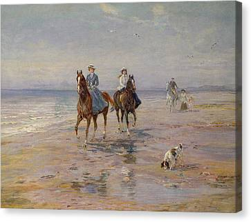 A Ride On The Beach, Dublin Canvas Print by Heywood Hardy