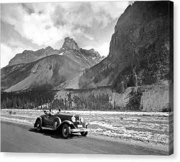 A Roadster In The Rockies Canvas Print by Underwood Archives