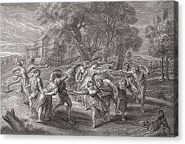 A Round Dance, After An Engraving From The Painting By Peter Paul Rubens.  From Illustrierte Canvas Print by Bridgeman Images