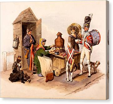 A Sallop Seller Serving Heated Hot Canvas Print by William Henry Pyne