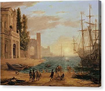 A Seaport, 1639 Canvas Print by Claude Lorrain