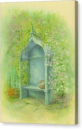 A Seat In The Garden Canvas Print by Garry Walton