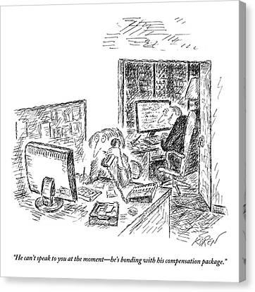 A Secretary Speaks Into The Phone Canvas Print by Edward Koren