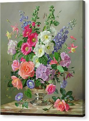 A September Floral Arrangement Canvas Print by Albert Williams