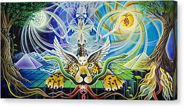 A Shaman's Journey Through The Heart Of The Sun Canvas Print by Morgan  Mandala Manley