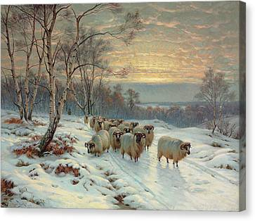 A Shepherd With His Flock In A Winter Landscape Canvas Print by Wright Baker