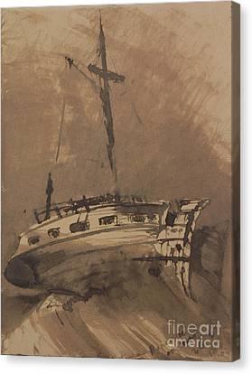 A Ship In Choppy Seas Canvas Print by Victor Hugo