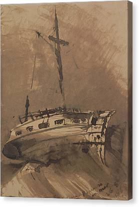A Ship In Choppy Seas Canvas Print by Victor Hugo