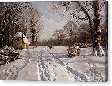 A Sleigh Ride Through A Winter Landscape Canvas Print by Peder Monsted