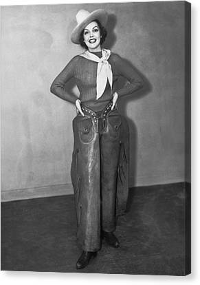 A Smiling Cowgirl Canvas Print by Underwood Archives