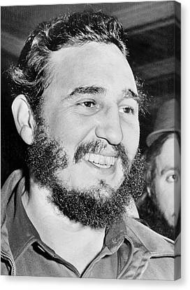 A Smiling Fidel Castro Canvas Print by Underwood Archives