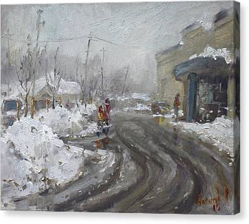 A Snow Day At Mil-pine Plaza Canvas Print by Ylli Haruni