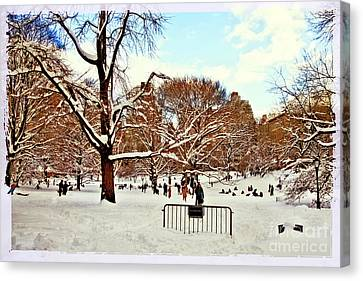 A Snow Day In Central Park Canvas Print by Madeline Ellis