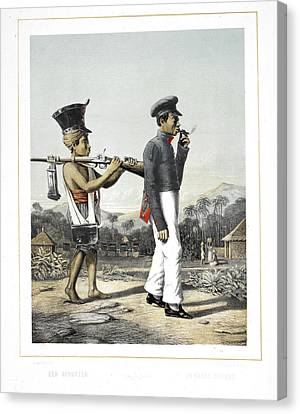 A Soldier And His Servant Canvas Print by British Library