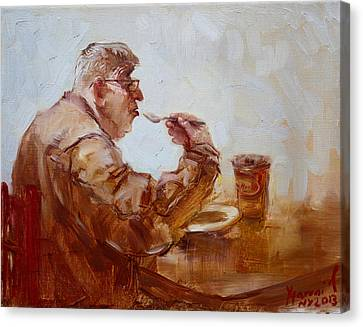 A Soupe Break At Tim Hortons Canvas Print by Ylli Haruni