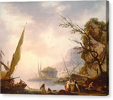 A Southern Coastal Scene, 1753 Oil On Canvas Canvas Print by Charles Francois Lacroix de Marseille