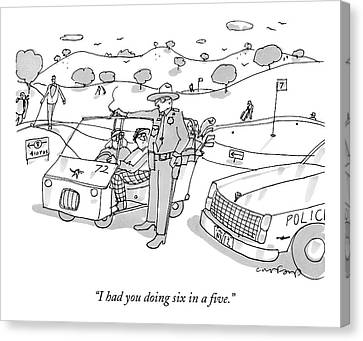 A State Trooper Stops A Golf Cart On A Golf Canvas Print by Michael Crawford