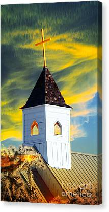 A Steeple Surrounded By The Glory Canvas Print by Beverly Guilliams