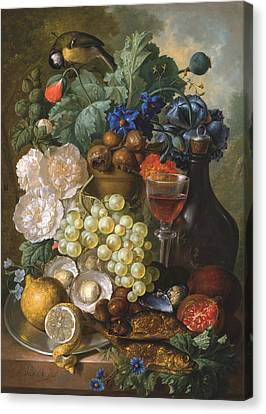 A Still Life With Fruits And Flowers With Oysters Mussels A Glass Of Wine And A Decanter Canvas Print by Jan van Os
