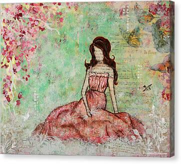 A Still Morning Folk Art Mixed Media Painting Canvas Print by Janelle Nichol