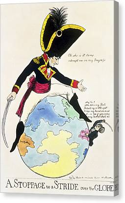 A Stoppage To A Stride Over The Globe, 1803 Litho Canvas Print by English School