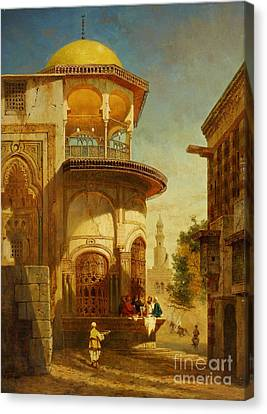 A Street Scene In Old Cairo Near The Ibn Tulun Mosque Canvas Print by Celestial Images