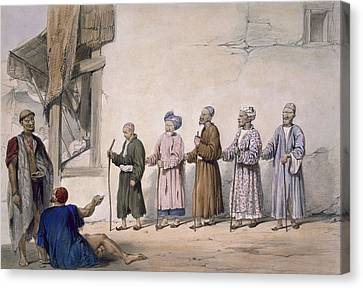 A String Of Blind Beggars, Cabul, 1843 Canvas Print by James Atkinson