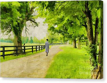 A Stroll Along The Bluegrass Canvas Print by Darren Fisher