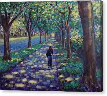 A Stroll On Griffith Avenue Dublin Canvas Print by John  Nolan