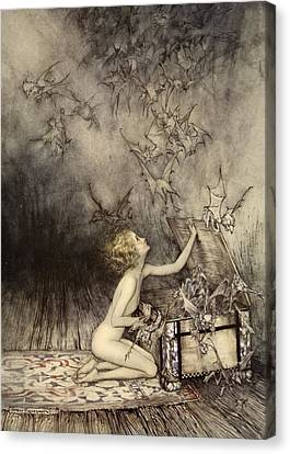 A Sudden Swarm Of Winged Creatures Canvas Print by Arthur Rackham