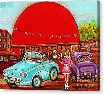 A Sunny Day At The Big Oj- Paintings Of Orange Julep-server On Roller Blades-carole Spandau Canvas Print by Carole Spandau