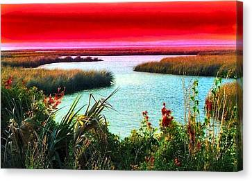 A Sunset Crimsoned Canvas Print by Julie Dant