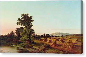 A Surrey Cornfield Canvas Print by Walter Williams