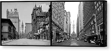 A Tail Of Two Cities - South Broad Then And Now Canvas Print by Bill Cannon