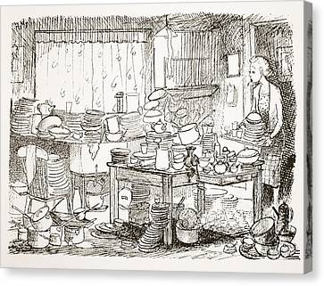 A Tendency To Leave The Washing-up Till Canvas Print by Pont
