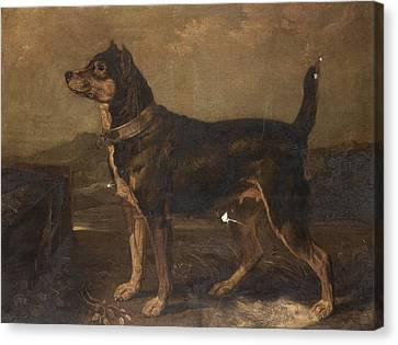 A Terrier In A Landscape Canvas Print by James Ward