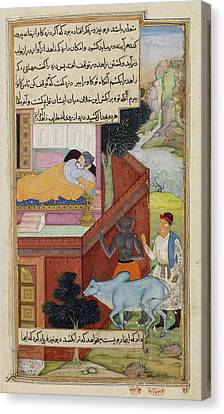 A Thief And Demon Conspiring Canvas Print by British Library