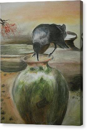 A Thirsty Crow Canvas Print by Prasenjit Dhar