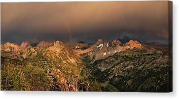 A Thunder Shower And Rainbow In The Tetons Canvas Print by Leland D Howard