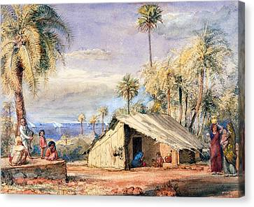 A Toddy-drawers Hut In A Grove Of Date Canvas Print by English School