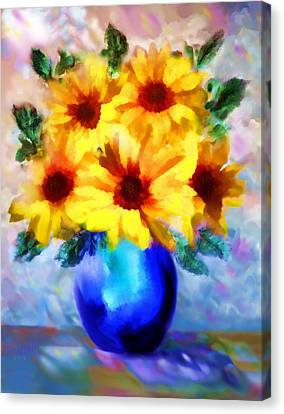 A Vase Of Sunflowers Canvas Print by Valerie Anne Kelly