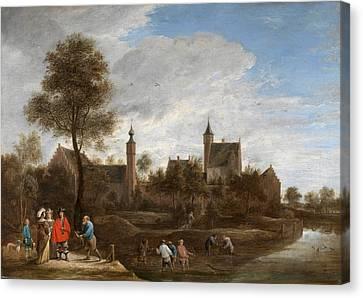 A View Of Het Sterckshof Near Antwerp Canvas Print by David Teniers the Younger