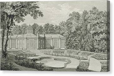 A View Of The Aviary And Flower Garden At Kew Canvas Print by Thomas Sandby