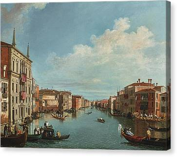 A View Of The Grand Canal With A Regatta Canvas Print by Celestial Images
