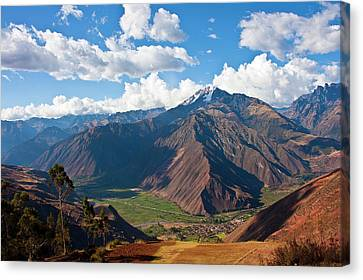 A View Of The Sacred Valley And Andes Canvas Print by Miva Stock