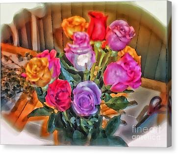 A Vivid Rose Bouquet For You Canvas Print by Thomas Woolworth