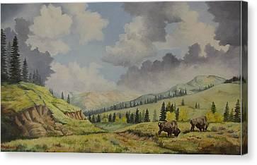 A Warm Day At Yellowstone Nat. Park Canvas Print by Wanda Dansereau