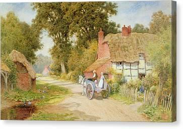 A Warwickshire Lane Canvas Print by Arthur Claude Strachan