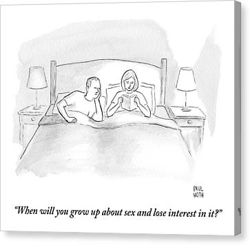 A Wife Speaks To Her Husband In Bed Canvas Print by Paul Noth
